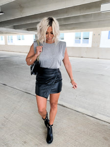 BAD BABE ASYMMETRICAL FAUX LEATHER MINI SKIRT