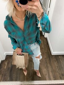 JADED PLAID BUTTON DOWN FLANNEL