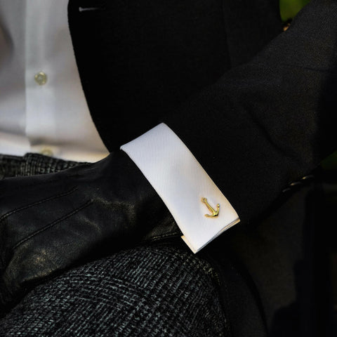 Cufflinks gold anchor