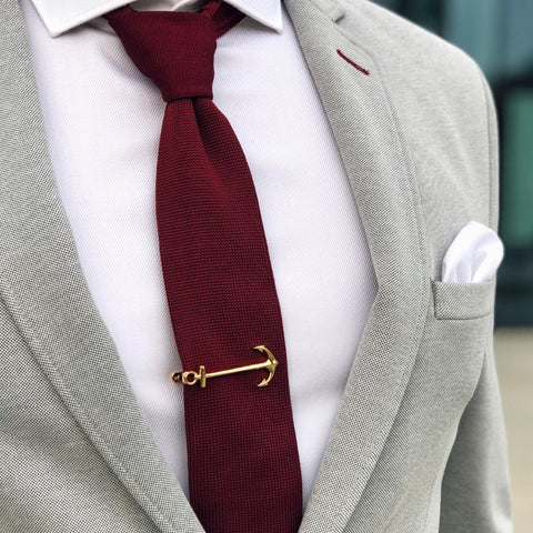 Tie bar gold anchor