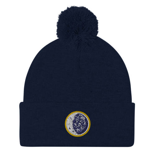 Secret Society Embroidered Beanie with Pom Pom
