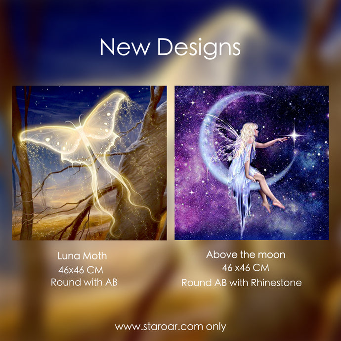October new designs - Above the Moon and Luna Moth
