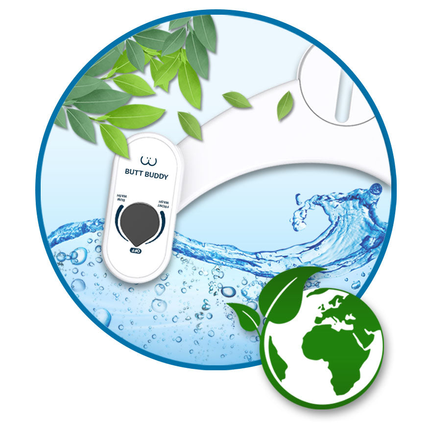 In My Bathroom (IMB) | Butt Buddy - Bidet Toilet Attachment - Fresh Water Sprayer - Features - Benefits - Save More Than Ever - Save The Earth - Eco-Friendly - Save Trees - Save the Environment - BBB
