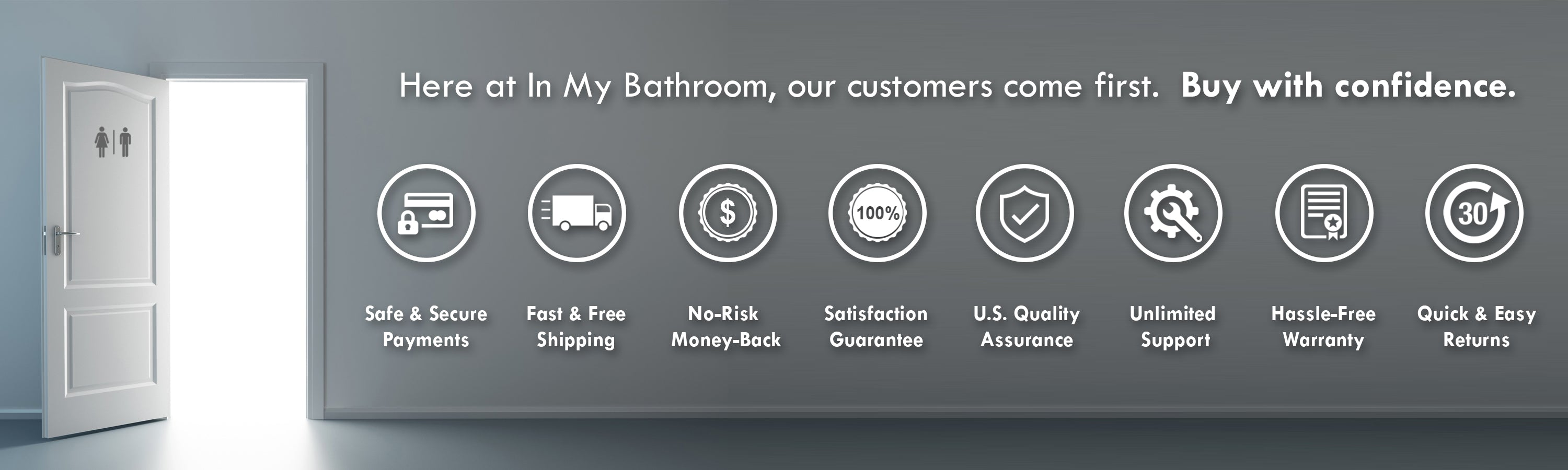 In My Bathroom (IMB) - Butt Buddy - Bidet Toilet Attachment - BBB - Customers Come First - Free Shipping - Safe Payments - Warranty - Money-Back - Satisfaction Guaranteed - U.S. - USA - Support - QA - Easy Returns - Buy With Confidence