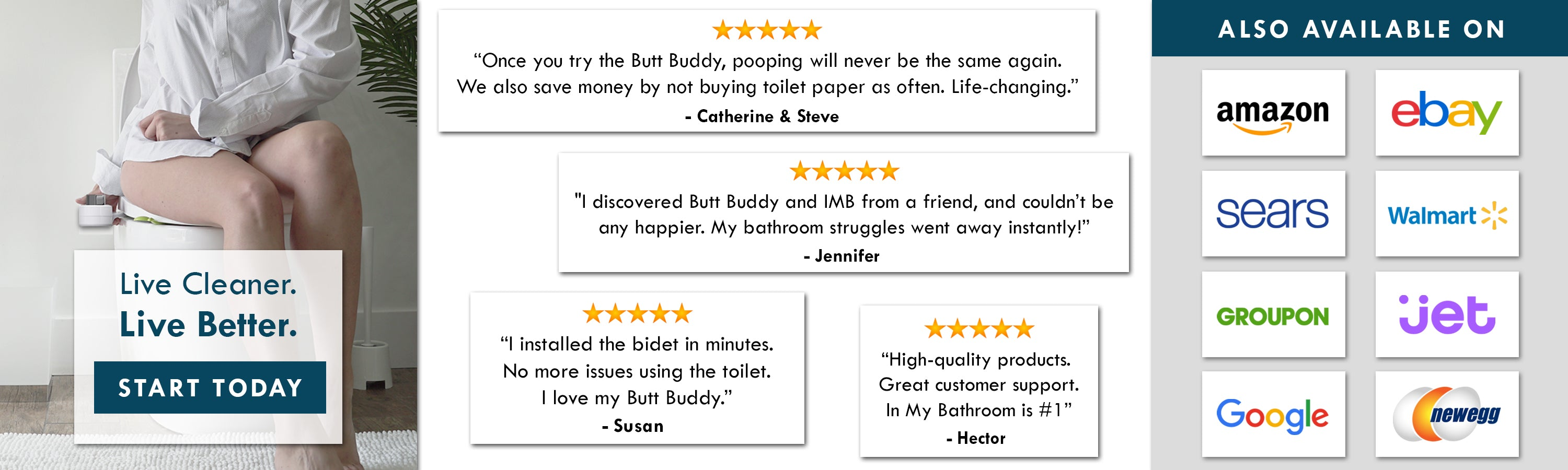 In My Bathroom (IMB) | Butt Buddy - Bidet Toilet Attachment - BBB - Live Cleaner, Live Better - 5 Star Product - Reviews - Also Available On - Amazon - Walmart - Ebay - Stores