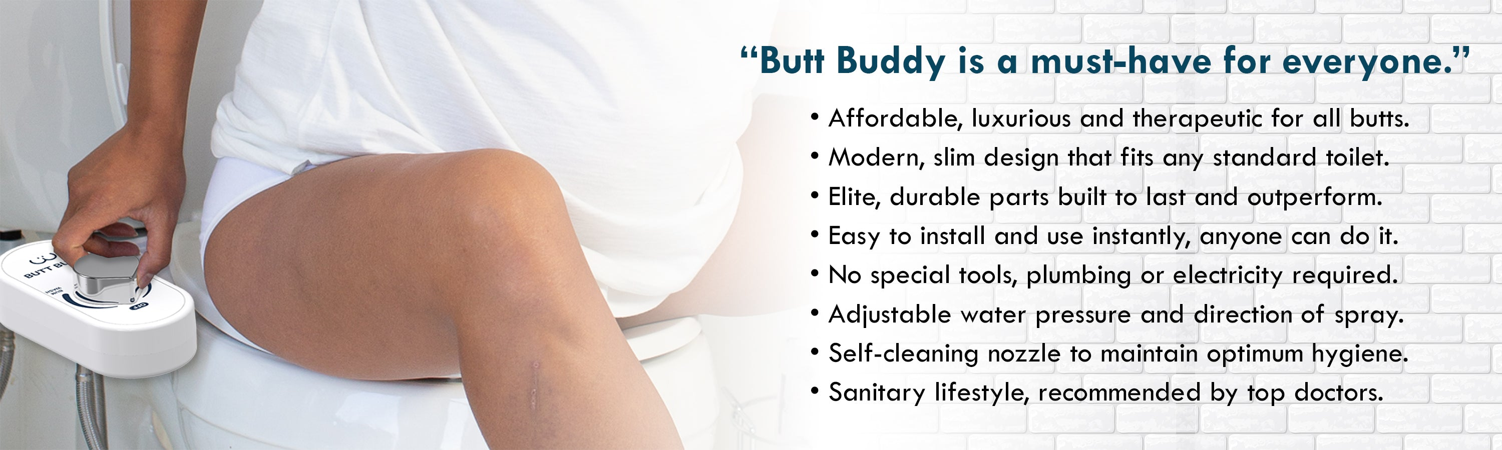 In My Bathroom (IMB) | Butt Buddy - Bidet Toilet Attachment - Fresh Water Sprayer - Features - Must Have For Everyone - Man On Toilet - BBB