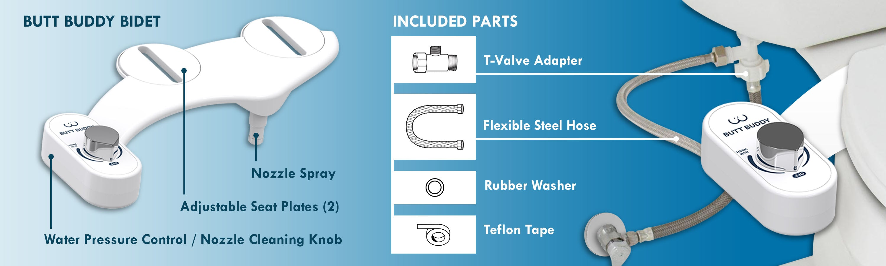 In My Bathroom (IMB) | Butt Buddy - Bidet Toilet Attachment - Fresh Water Sprayer - What's In The Box - Included Parts - Warranty - T-Valve Adapter - Flexible Steel Hose - Teflon Tape - Rubber Washer - Water Pressure Control - Nozzle Spray - BBB.jpg