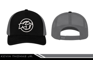 Hat - KT Logo in White - Black w/ Charcoal Mesh