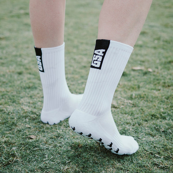 Gorilla Grip Crew Socks - White