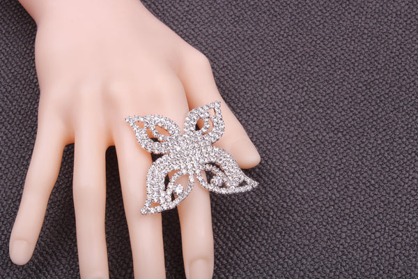 Silver Plating Adjustable Butterfly Shape Metal Cupchain Finger Rings W/Clear Crystal Rhinestones For Women & Girls