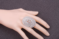 Silver Plating Adjustable Wide Oval Shape Metal Cupchain Finger Rings W/Clear Crystal Rhinestones For Women & Girls