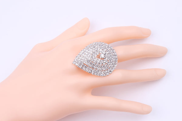 Silver Plating Adjustable Tear Drop Shape Metal Cupchain Finger Rings W/Clear Crystal Rhinestones For Women & Girls