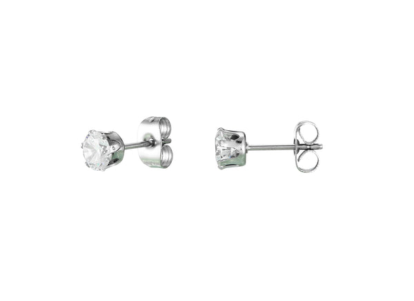 3/4/5mm Stainless Steel Stud Post Earrings W/Clear Crystal Cubic Rhine Stones 3Pairs/Set