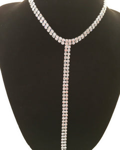 "Silver Color 2 Row Cupchain Y-Necklace W/Clear Rhine Stones Length: 12""+3.5"" Extension+8.5"" Pendant"