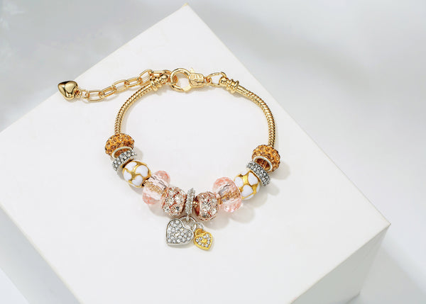 "Snake Chain Glass Beads Love Heart Design Charm Beaded Bracelets For Women Lady W/7.2""+1.5"" Extension Gold and Silver 2 Colors available"