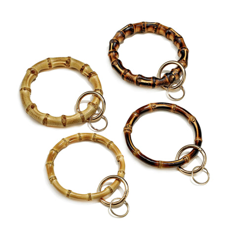 Natural Bamboo Bangle Key Ring Bracelets Wristlet Keychain Holder Keyring