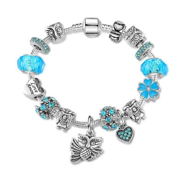 Owl Flower Cherry blossoms Charm Bracelet For Women Copper Snake Chain