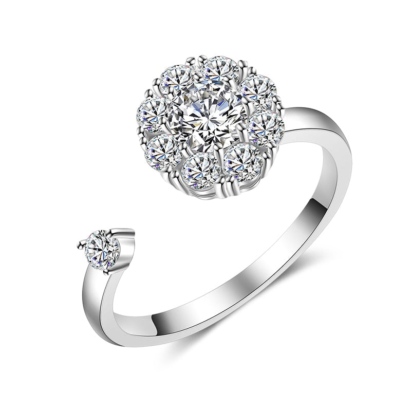 Fashion Rotatable Cubic Zirconia Adjustable Women Ring