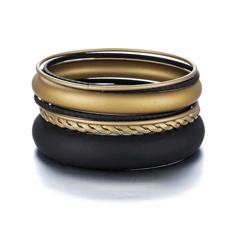 7 PCS/set Bracelets & Bangles Matt black and shiny Gold