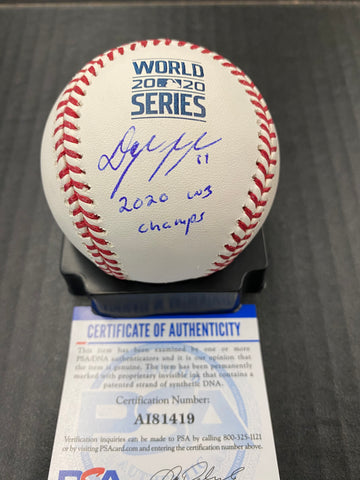 "Dylan Floro Los Angeles Dodgers signed 2020 World Series baseball ""2020 WS CHAMP "" inscription PSA authenticated"