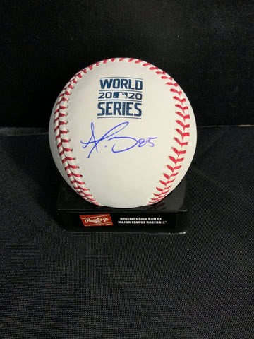 Dustin May Los Angeles Dodgers signed 2020 World Series baseball MLB authenticated