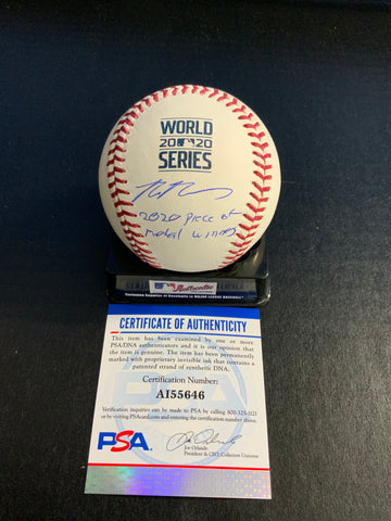 "Max Muncy Los Angeles Dodgers signed 2020 World Series baseball ""2020 piece of metal winners"" inscription MLB authenticated & Muncy Hologram"