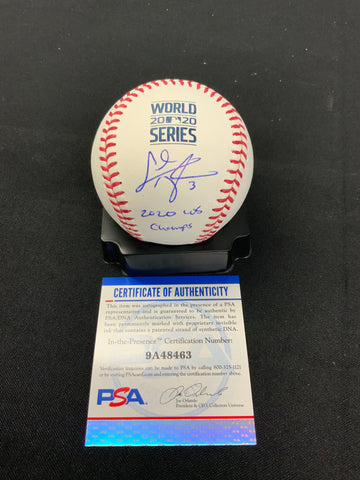 "Chris Taylor Los Angeles Dodgers signed 2020 World Series baseball ""2020 W.S champs"" inscription PSA Witness Authenticated"