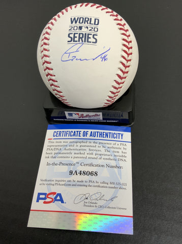 Tony Gonsolin Los Angeles Dodgers signed 2020 World Series baseball PSA authenticated