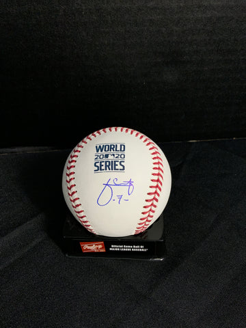 Julio Urias Los Angeles Dodgers signed 2020 World Series baseball MLB authenticated