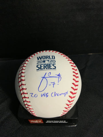 "Julio Urias Los Angeles Dodgers signed 2020 World Series baseball ""2020 W.S champs"" inscription MLB authenticated"