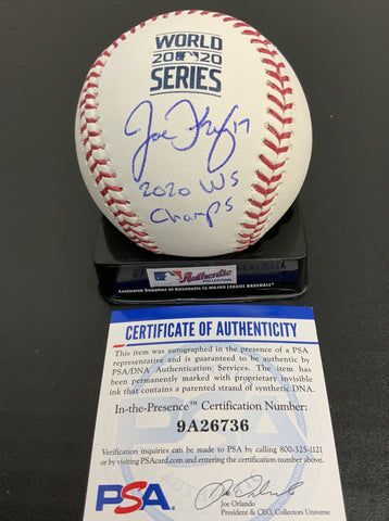"JOE KELLY Los Angeles Dodgers signed 2020 World Series baseball ""2020 W.S champs"" inscription PSA authenticated"