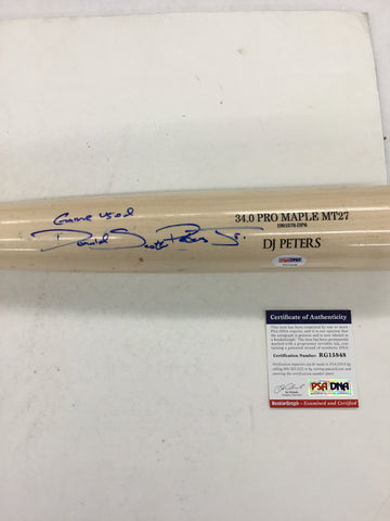 DJ PETERS DODGERS PROSPECT FULL NAME SIGNED GAME USED OLD HICKORY BAT PSA RG15848