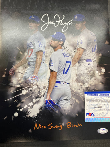 "JOE KELLY Los Angeles Dodgers signed 11X14 PHOTO EDIT WITH ""NICE SWING BITCH "" INSCRIPTION PSA AUTHENTICATED"