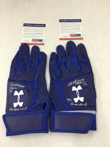 DJ PETERS DODGERS PROSPECT FULL NAME SIGNED GAME USED BATTING GLOVES PSA 7218-19