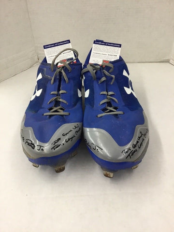 DJ PETERS DODGERS PROSPECT RARE FULL NAME SIGNED GAME USED CLEATS PSA 7208-09