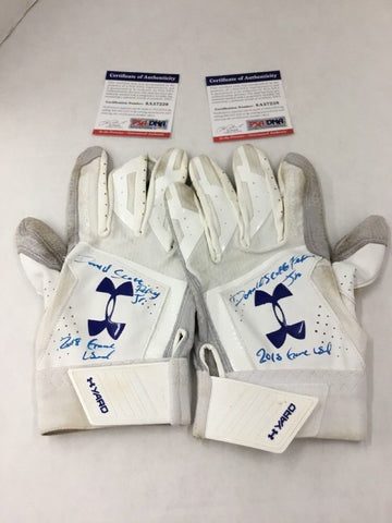 DJ PETERS DODGERS PROSPECT FULL NAME SIGNED GAME USED BATTING GLOVES PSA 7228-29
