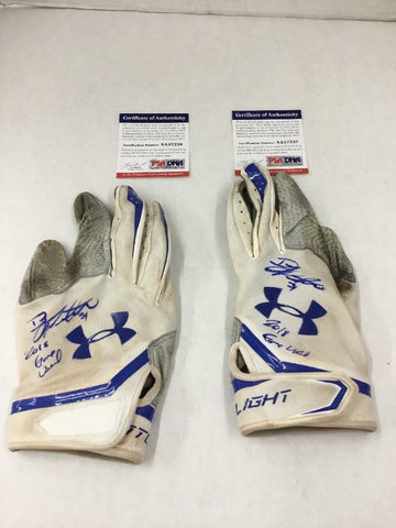 DJ PETERS DODGERS PROSPECT SIGNED GAME USED BATTING GLOVES PSA 7236-37