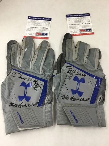 DJ PETERS DODGERS PROSPECT FULL NAME SIGNED GAME USED BATTING GLOVES PSA 7214-15