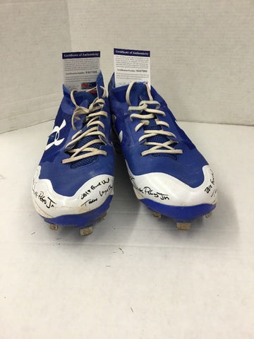 DJ PETERS DODGERS PROSPECT RARE FULL NAME SIGNED GAME USED CLEATS PSA 7202-03