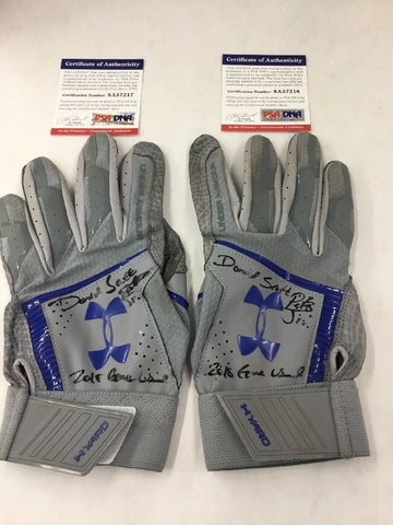 DJ PETERS DODGERS PROSPECT FULL NAME SIGNED GAME USED BATTING GLOVES PSA 7216-17