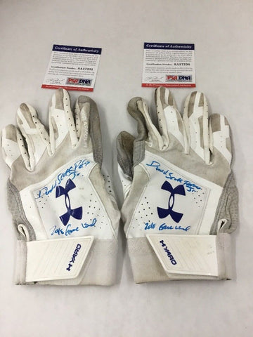 DJ PETERS DODGERS PROSPECT FULL NAME SIGNED GAME USED BATTING GLOVES PSA 7230-31