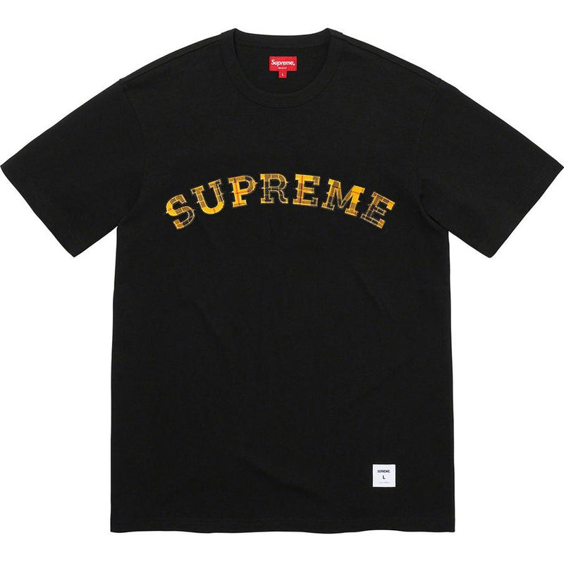 Supreme Plaid Appliqué Tee - Black