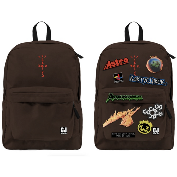 Travis Scott Cactus Jack Backpack With Patch Set - Brown