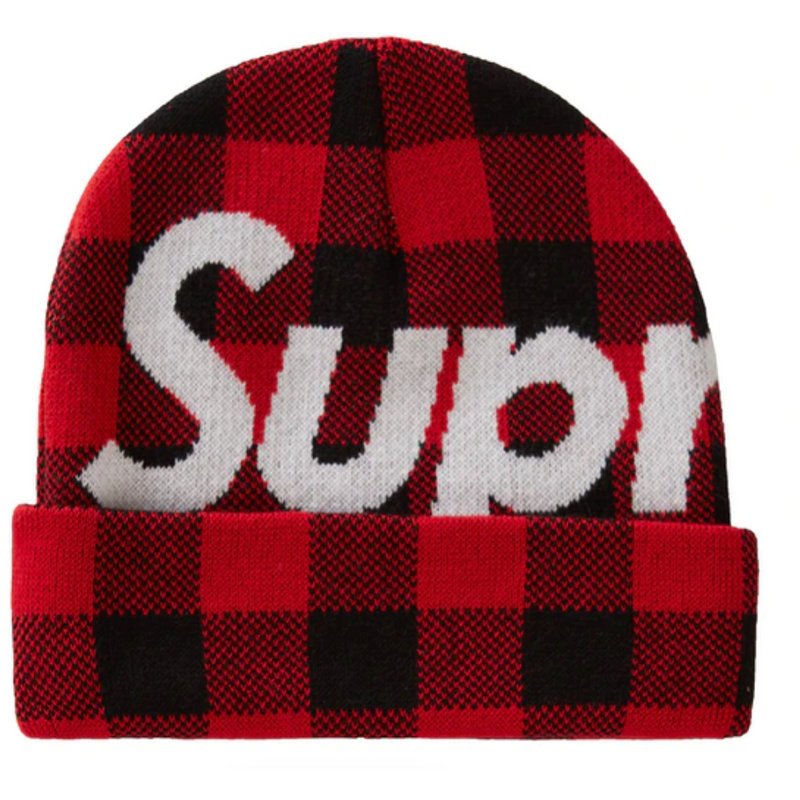 Supreme Big Logo Beanie (FW20) - Red Plaid
