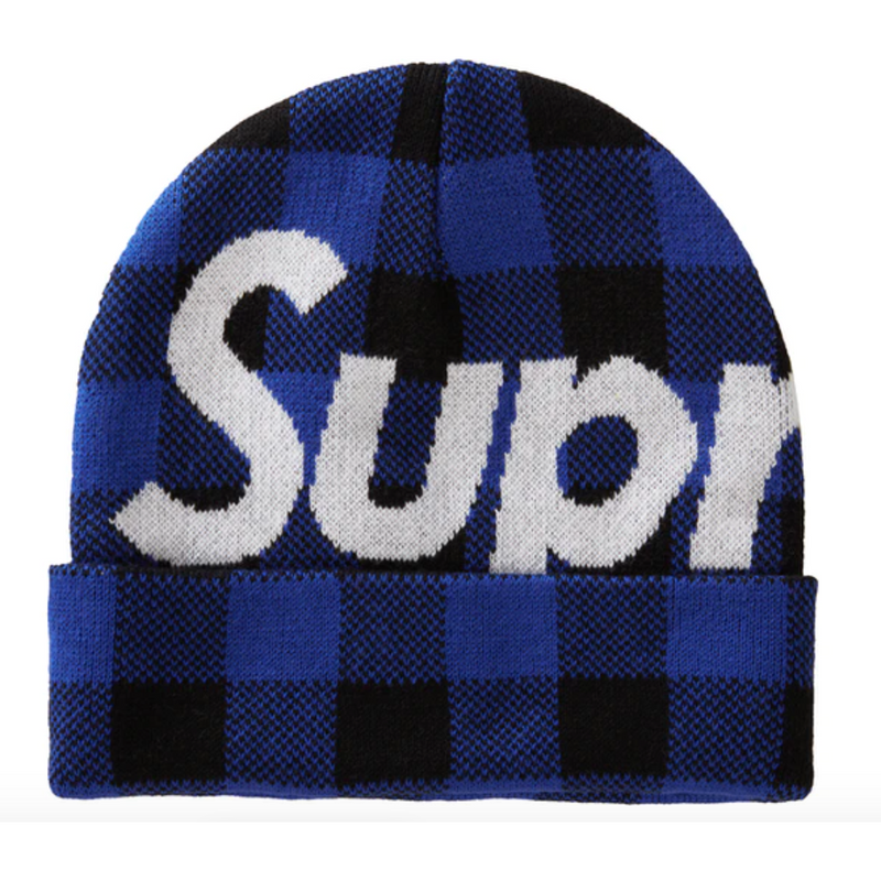 Supreme Big Logo Beanie (FW20) - Blue Plaid