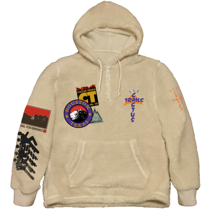 Travis Scott Cactus Trails Half-Zip Sherpa Hoodie - Natural