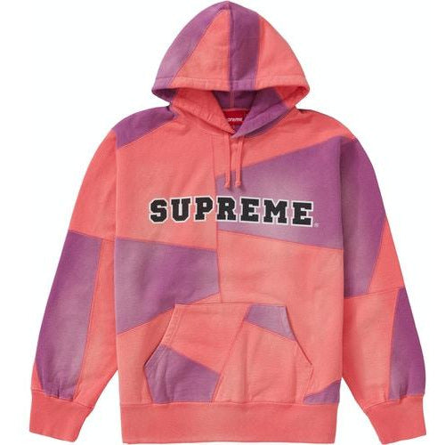 Supreme Patchwork Hooded Sweatshirt -  Bright Coral