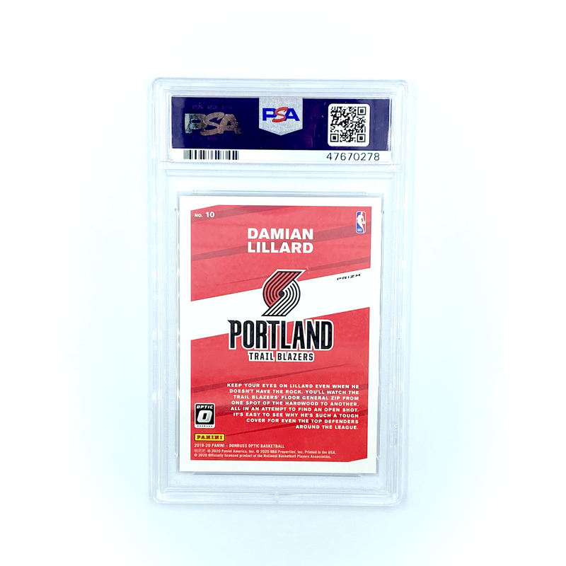 Donruss Basketball -  Damian Lillard 2019-20 Trail Blazers My House! Red Wave  #10 PSA 10