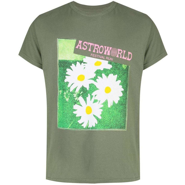 Astroworld Flower Washed Tee - Olive