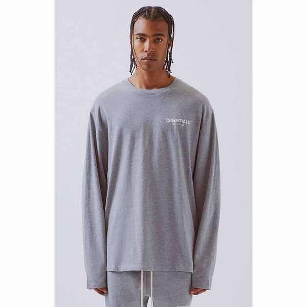 FOG - ESSENTIALS Boxy Logo Long Sleeve T-Shirt Grey